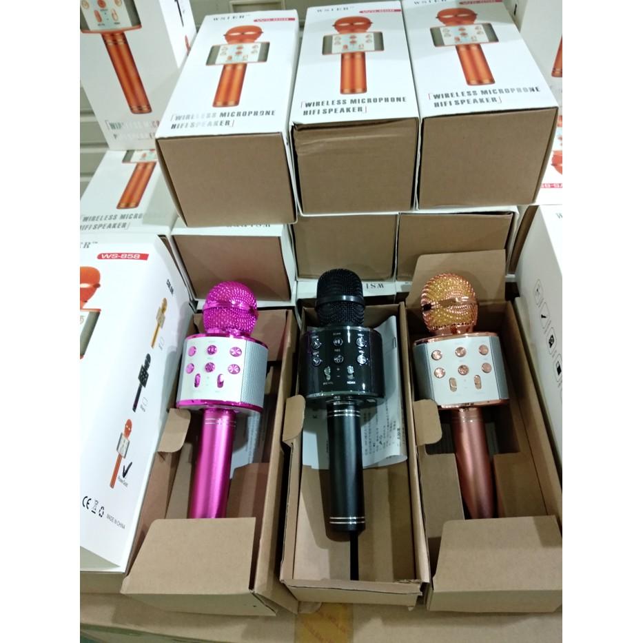 Mic Wster Ws 858 Wireless Bluetooth Karaoke Smule Shopee Indonesia