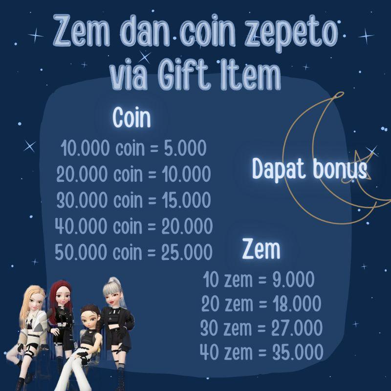 Zem dan Coin Zepeto Murah dan Legal Via Gift item