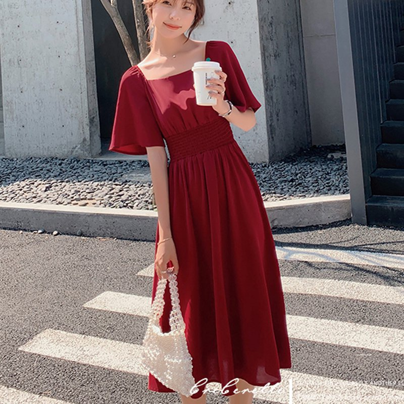 Dress Lengan Pendek Bahan Sifon Warna Merah Polos Gaya Vintage Kasual Untuk  Wanita | Shopee Indonesia
