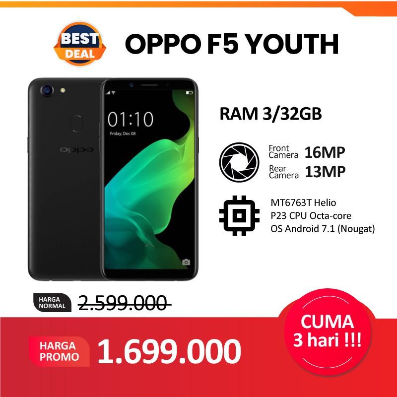 READY OPPO F5 YOUTH 3/32GB ORIGINAL - Gold & Black- Garansi RESMI OPPO