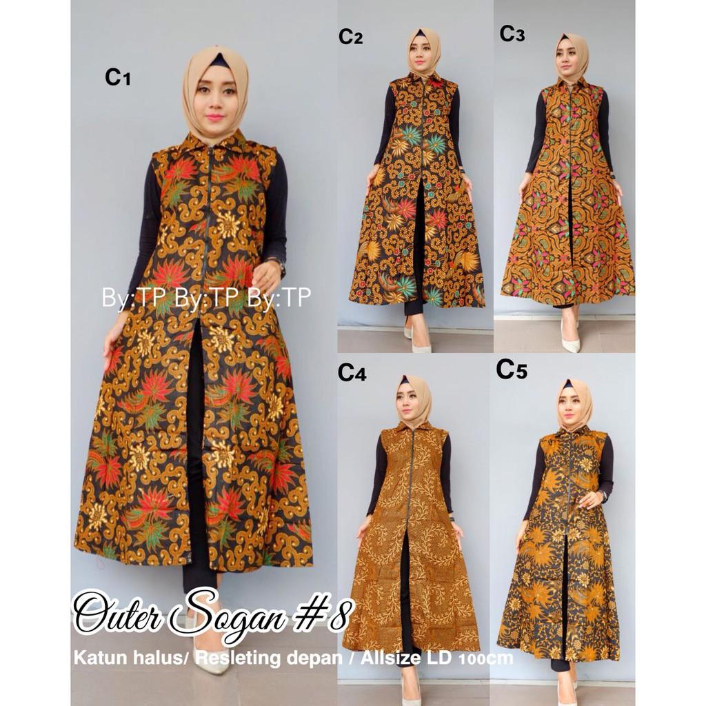 Baju Batik Outer Sogan Baju Cewek Baju Batik Lengan Panjang Gamis