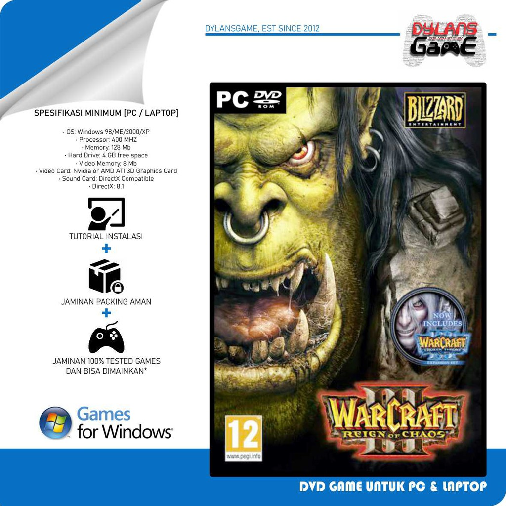 Warcraft 3 Complete Edition Game Pc Dvd Game Pc Laptop Shopee Indonesia