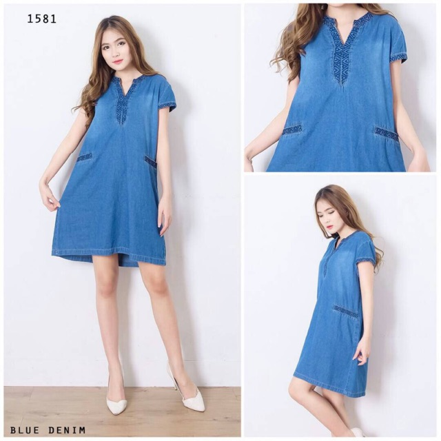 Pakaian Tunik Dress Jeans Wanita Terbaru Murah Shopee Indonesia