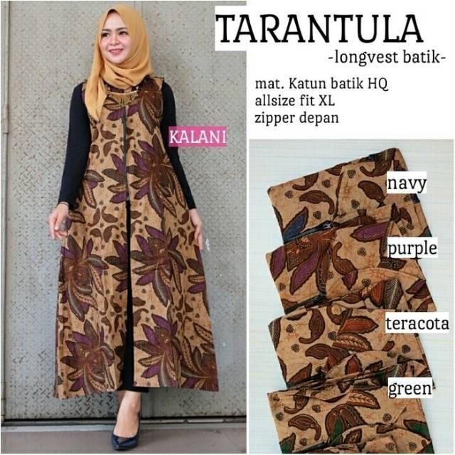 Rompi Long Vest Batik Long Cardi Outer Batik Outwear Out Wear Rompi Muslim Longvest