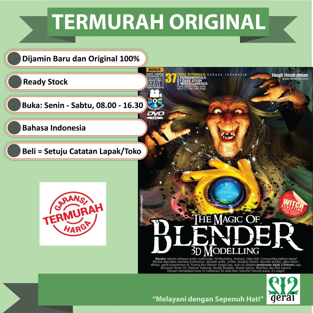 Termurah Original Buku The Magic Of Blender 3d Modelling Plus Dvd