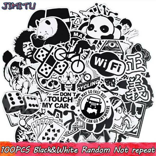 Stiker Sticker Lucu Hitam Putih Black And White Grafiti 100 Pcs Shopee Indonesia