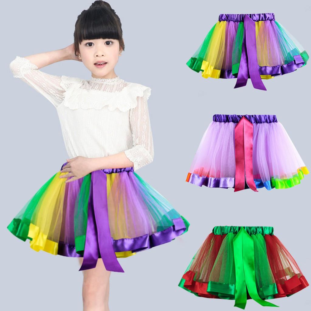Rainbow Girls Kids Skirt Petticoat Pettiskirt Bowknot Skirt Tutu Dress Dancewear