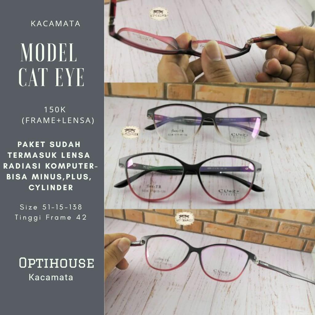 Frame kacamata altha model cat eye + lensa minus plus silinder anti radiasi  aksesoris wanita  b51ad8a0cc
