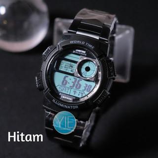 Jam Tangan Pria Sport Army Digitec World Time Dual Display DG 3061 Original Tahan Air - Hitam
