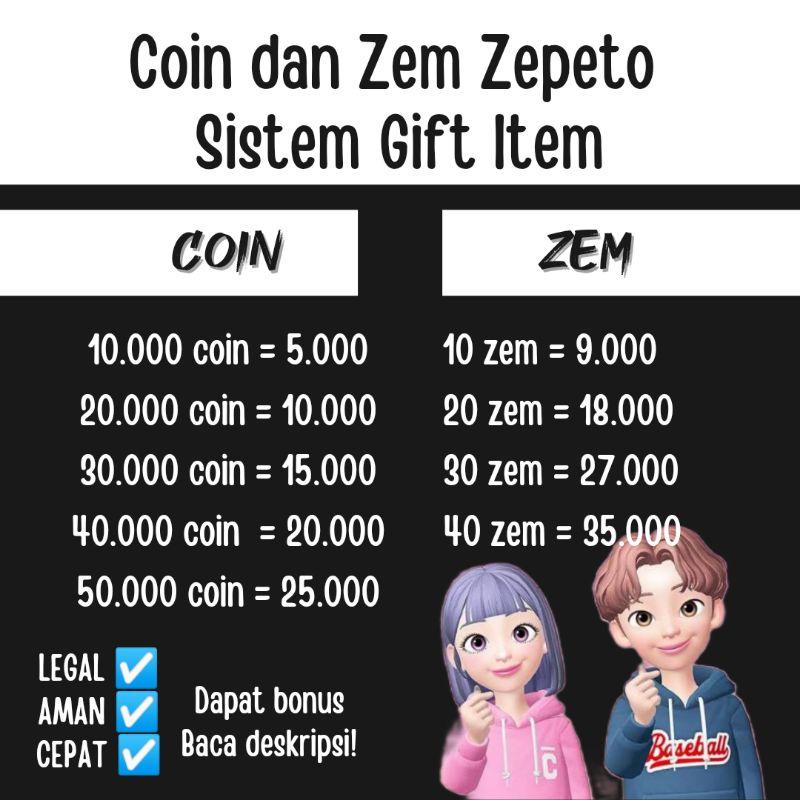 Coin dan Zem Zepeto Murah dan Legal sistem gift item
