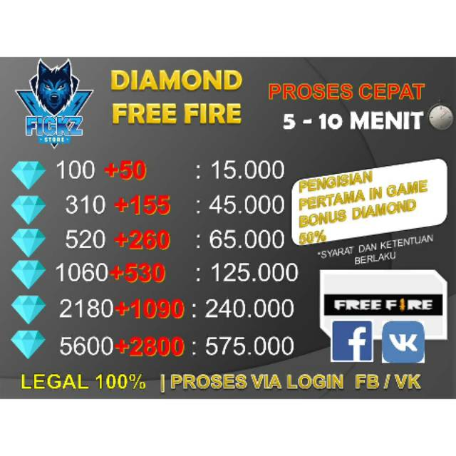 TOP UP DIAMOND FREE FIRE LEGAL 100%
