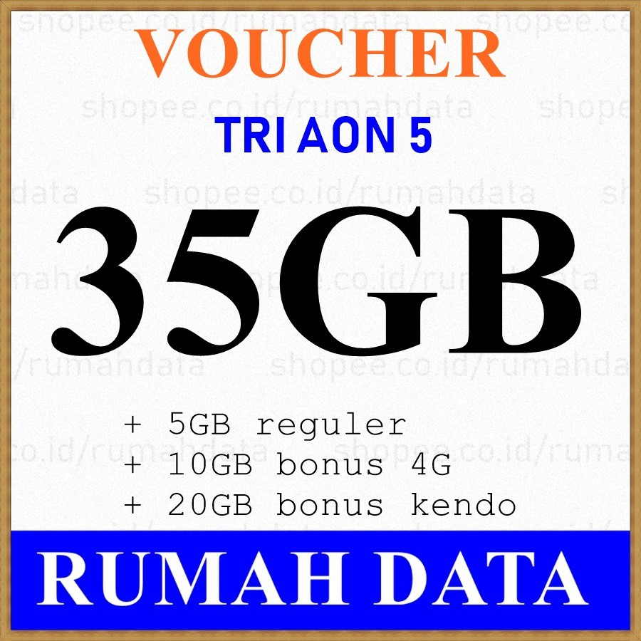 Voucher Tri Aon 35gb 5gb 10gb 4g 20gb Kendo Shopee Indonesia Kartu Perdana Three 3 Internet Reguler