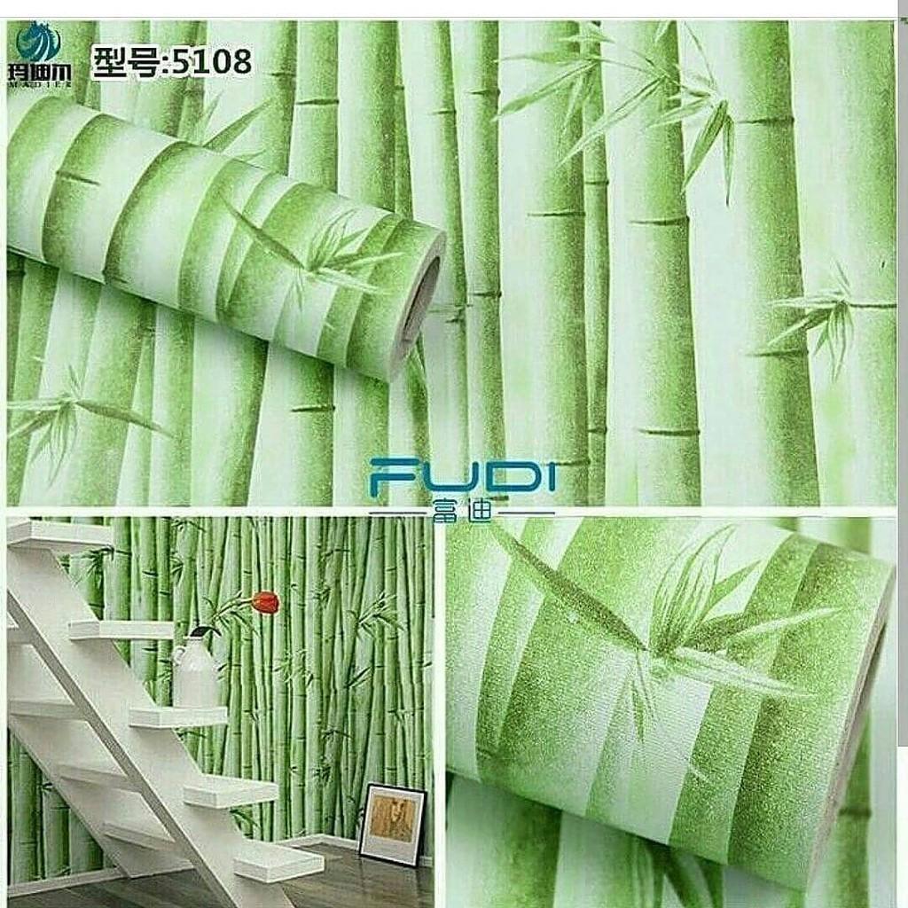 Wallpaper Motif Bambu Hijau Wallpaper Dinding Stiker Dinding