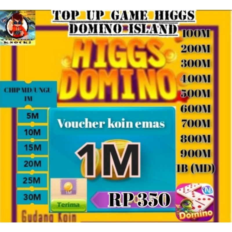 PROMO TOP UP KOIN CHIP DOMINO HIGGS ISLAND 1M s/d 1B
