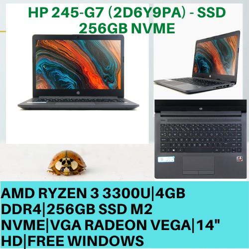 Laptop Desain Murah Ram 12gb Amd Ryzen 3300U SSD 256GB Free Instal Bos - HP 245-G7 - Hitam