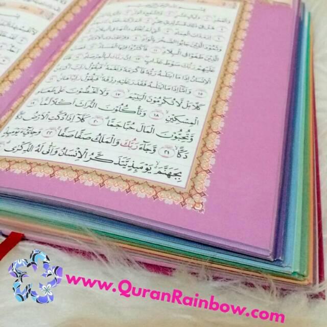 Al Quran Rainbow Premium Falistya Ukuran Tanggung A5 Cover Bludru Impor Cantik Free Tasbih Shopee Indonesia