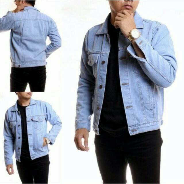 READY STOK Jaket jeans levis Pria Biru Muda TELOR ASIN Kerah Saku Dalam Panjang PREMIUM QUALITY | Shopee Indonesia