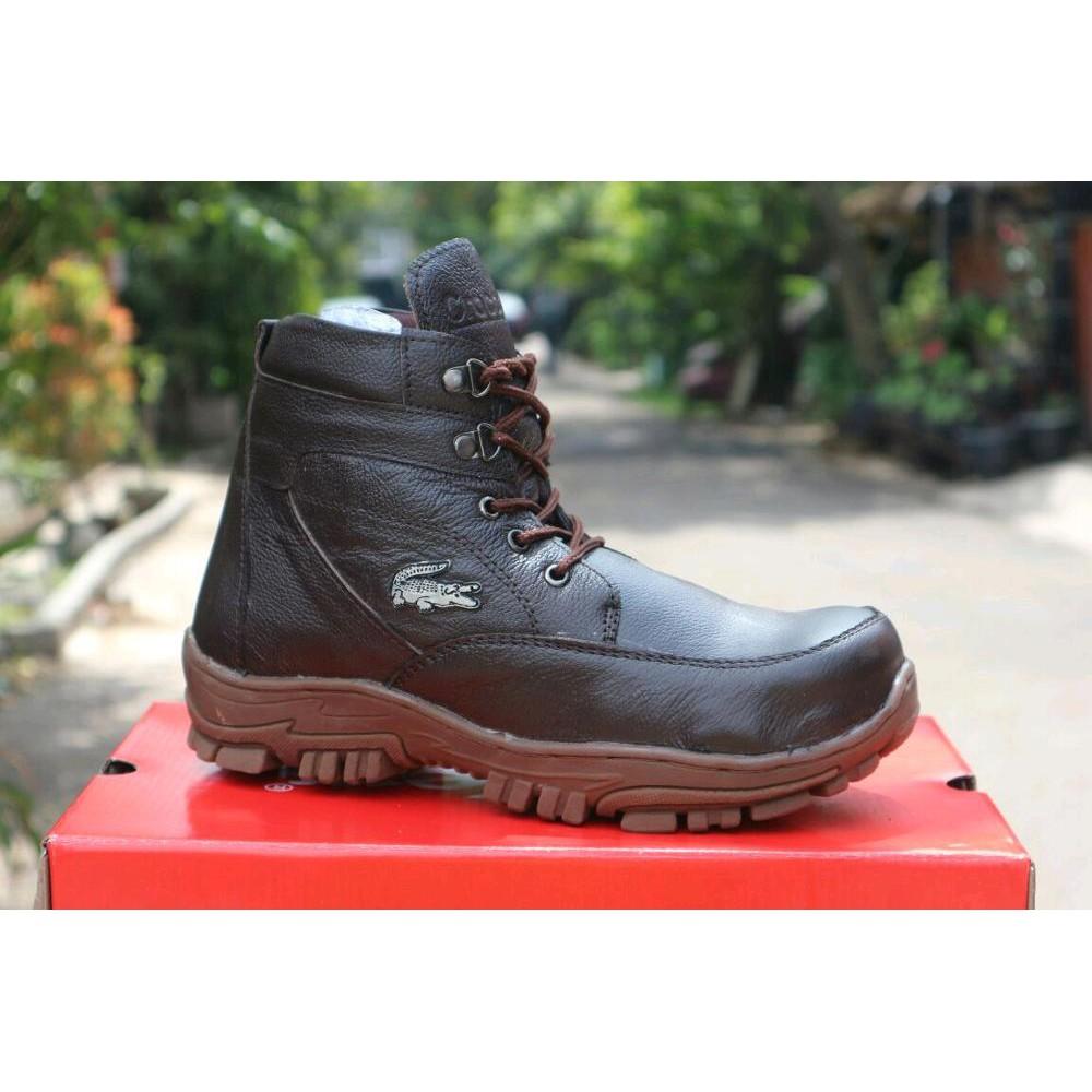 Sepatu Boots Pria Crocodile Resleting Morrisey Safety Brown Shopee Proyek Ujung Besi Gunung Indonesia