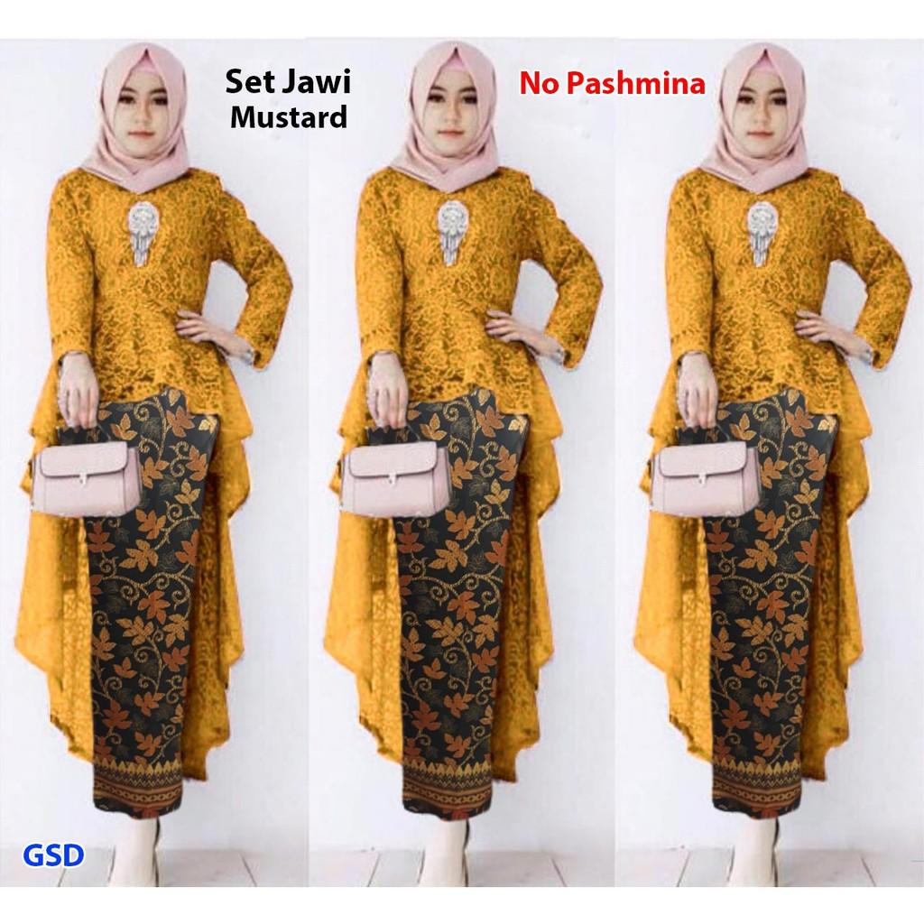Setelan kebaya muslim terbaru model belakang ekor kombinasi brukat rok  saten batik / SET JAWI REGATA