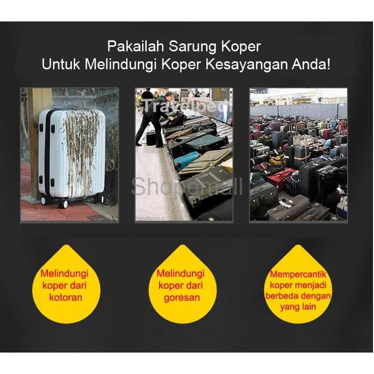 Termurah Premium Sarung Koper Elastis Cover Pelindung Luggage Cover Three Bears - Orange Size L