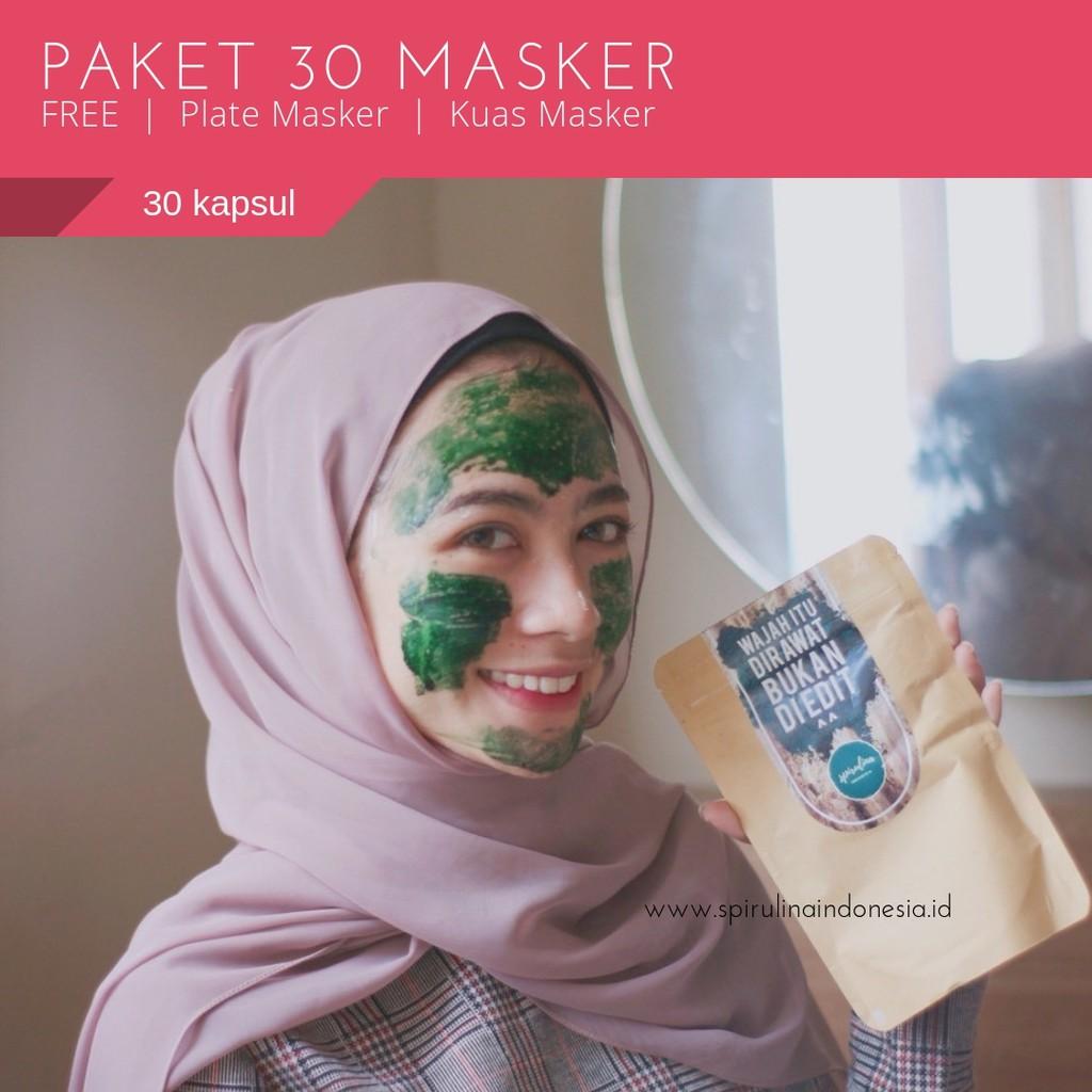 Masker Wajah Alami Spirulina Capsule Tiens Kuas Isi 100 Kapsul Shopee Indonesia