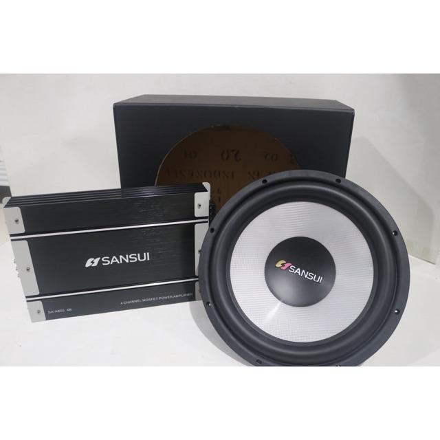 Paket Audio Sansui Subwoofer 12 inch Power Amplifier box subwoofer Audio Mobil murah