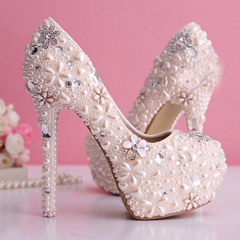 Cantik Mutiara Pernikahan Sepatu Berlian Imitasi Sepatu Pengantin Platform tumit tinggi Pompa | Shopee Indonesia