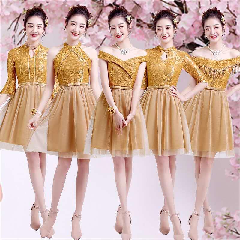 Dress Model Bridesmaid Warna Emas Untuk Pesta Malam Hari