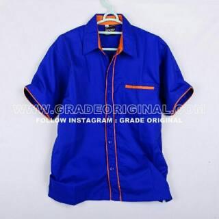 Flash Sale EP-02 Baju Kemeja Seragam Kerja Pria Biru Lis Orange shock price - only Rp61.868