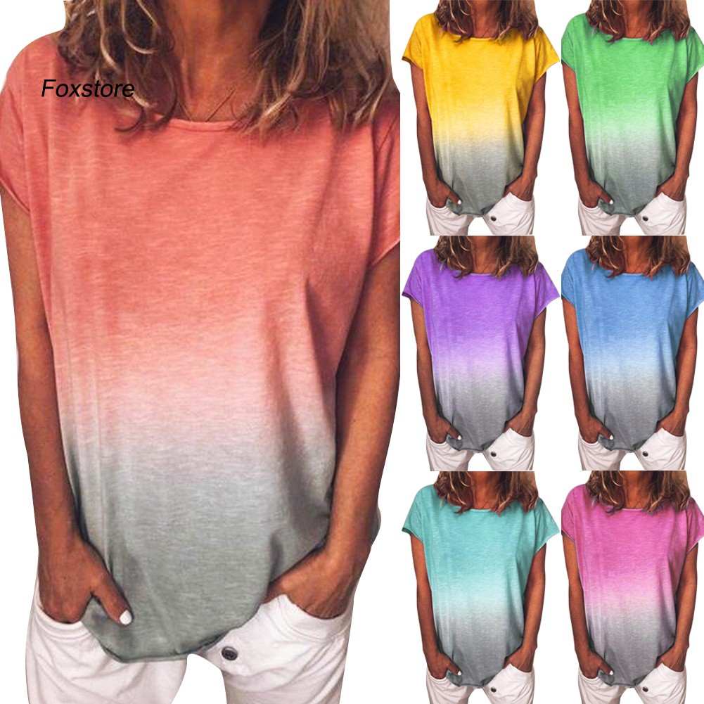 Womens Tops Summer,Womens Tie Dye Round Neck Short Sleeve Casual Summer T-Shirt Tee Top