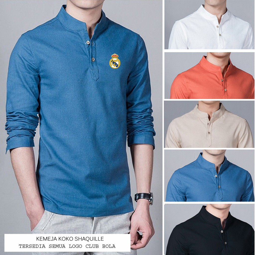 Baju Koko Shaquille Biru Logo MAN City Bahan Cotton Adem Saat Dipakai PROMO Tersedia Juga Semua Logo | Shopee Indonesia