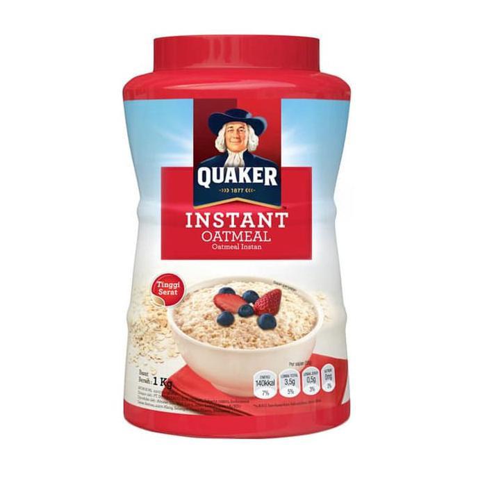 dijamin ketagihan quaker oatmeal instant 1kg oat meal instan 1000g jar malaysia 1 kg gratis ongkir   Shopee Indonesia