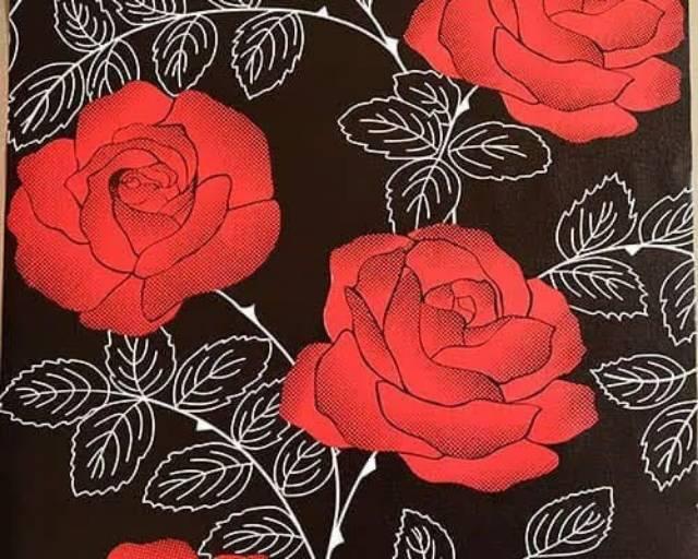 Wallpaper Dinding Murah Dekor Ruangan Kamar Hitam Bunga Mawar Merah Besar Elegan Mewah Terlaris Shopee Indonesia