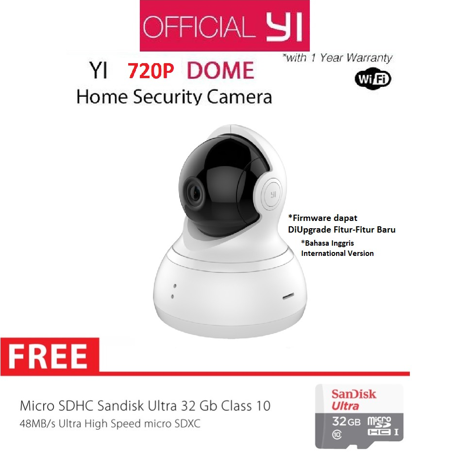 Xiaomi Yi Home Cctv Xiaoyi Smart Ip Camera International Version Original Dome 720p White Garansi Resmi 1 Tahun Shopee Indonesia
