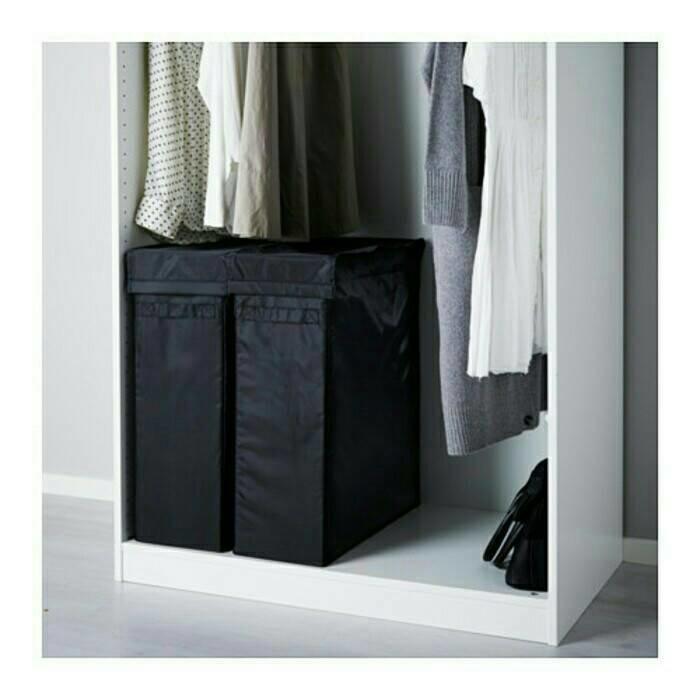 Promo sale IKEA SKUBB Tempat cucian dengan stand 80 Liter, Hitam Terlaris dan termurah |