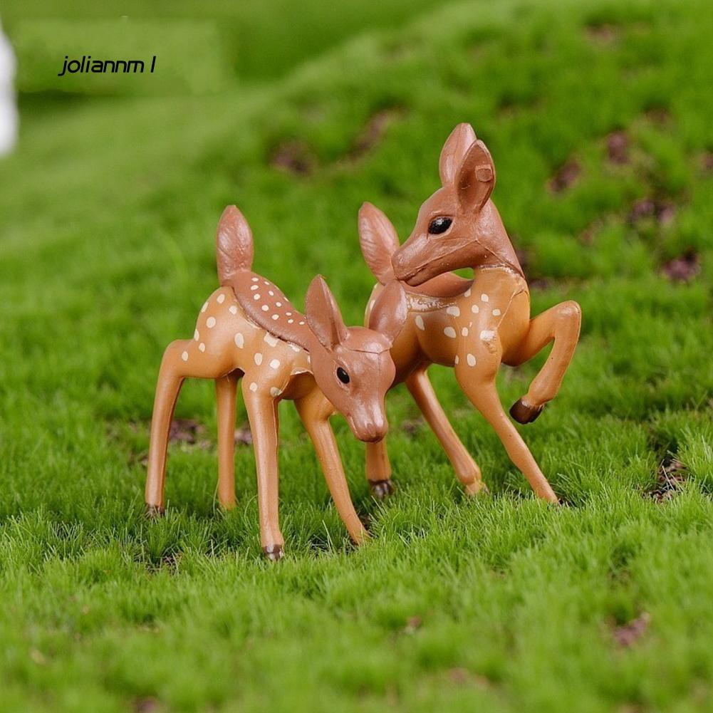 JLNM_2Pcs Lovely Couple Deer Mini Craft Micro Landscape Bonsai Garden Home Decor