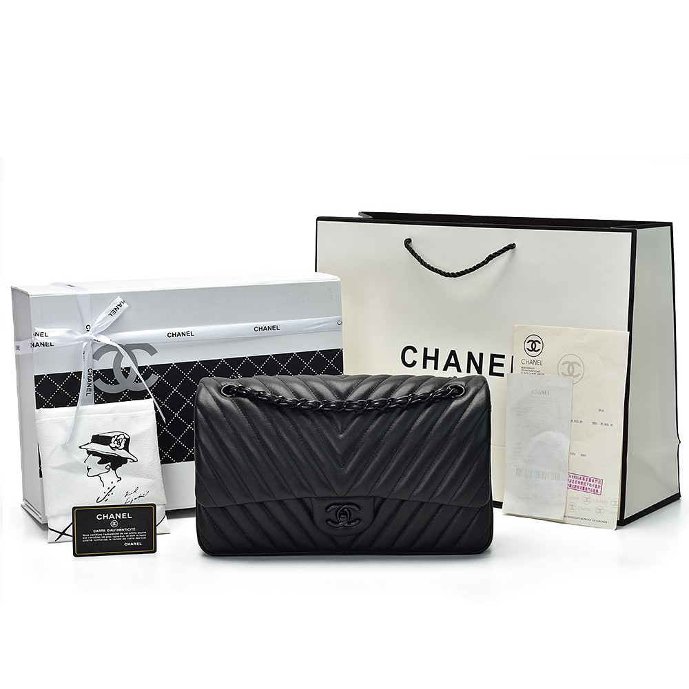 7c4f4054706e Tas Wanita Selempang Chanel Classic 30 Lambskin Chevron Hitam PREMIUM  MIRROR ORI LEATHER KULIT ASLI | Shopee Indonesia