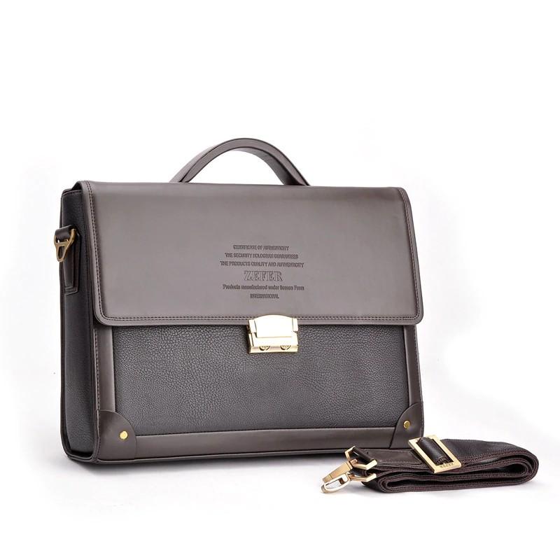 Men Crazy Horse Leather Vintage Lock Attache Portfolio Briefcase Shoulder Bag