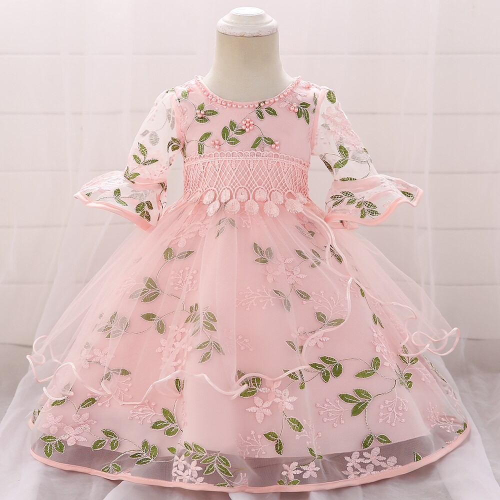Baby Girl Party Dresses Girl Pearl Embroidery Ball Gown Dress Newborn Baby  Baptism Dress Baby Girl