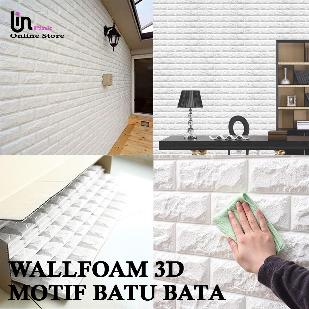 LIN ST Wallpaper 3D Brickfoam Bata Putih Wallpaper 3D Model Motif Bata Putih