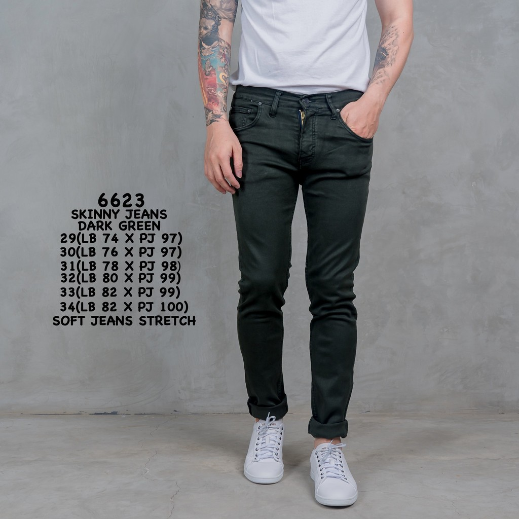 6623 celana jeans warna hijau/celana panjang cowok/celana keren/Skinny Jeans Dark Green | Shopee Indonesia