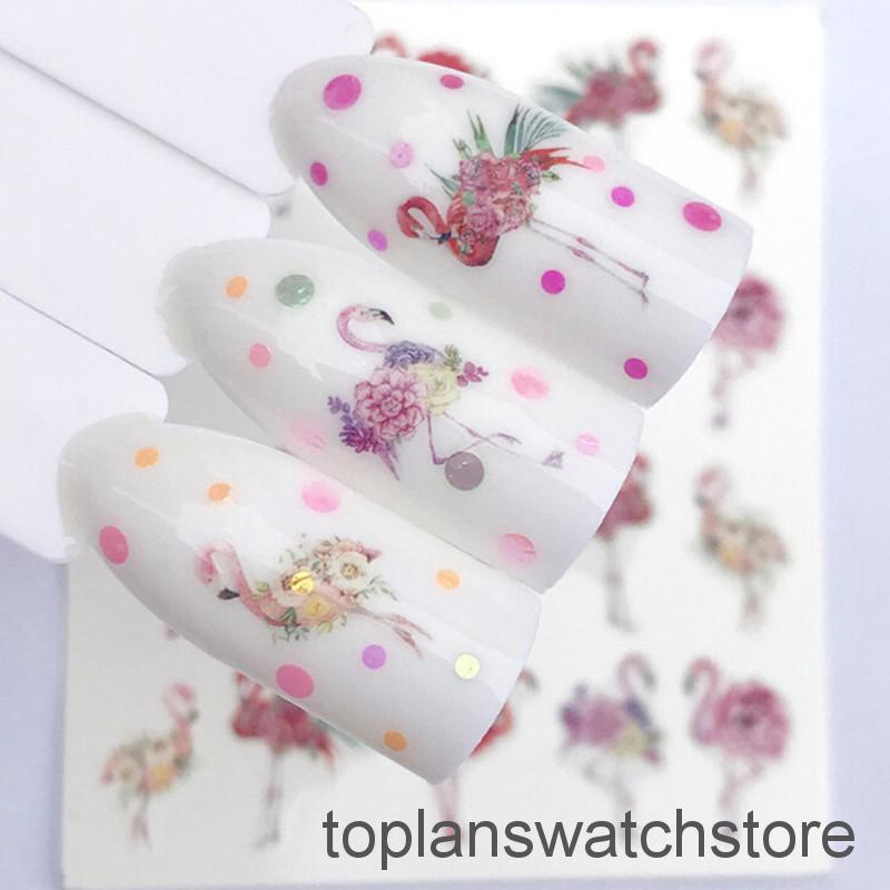 Nail Art Bunga: 2 Lembar/Set Stiker Kuku Decal Transfer Air Bentuk Bunga