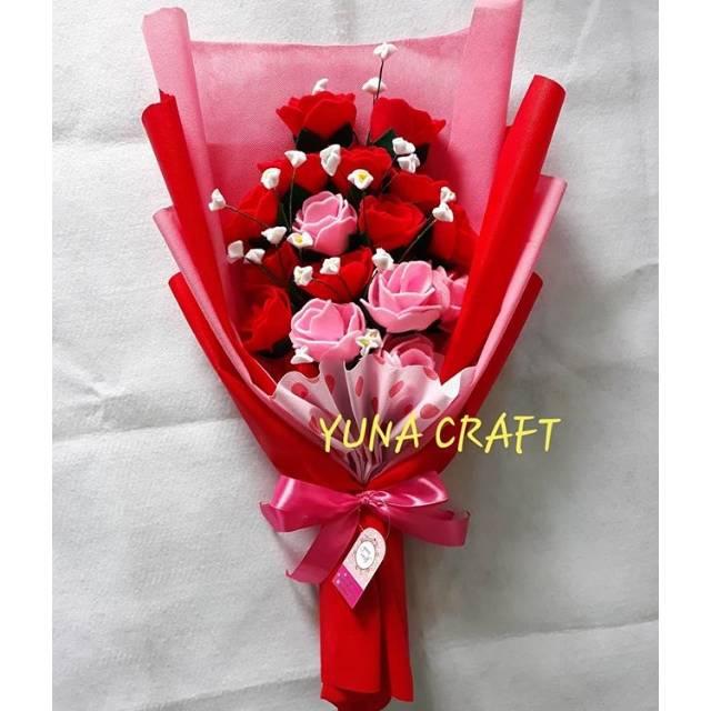 Buket Bunga Flanel Cantik Kado Ultah Wisuda Anniversary Shopee
