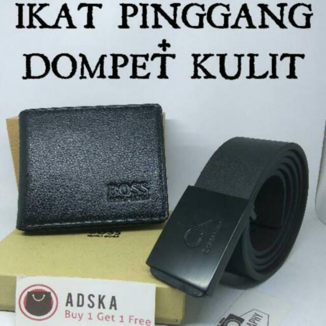 Paket ekonomis beli dompet pria kulit asli dapat 1 ikat pinggang branded  65665a2901