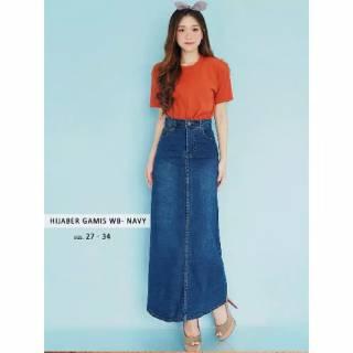 c98a0840997ea1 Perbandingan harga Jeans rok panjang jsk size polos skirt jumbo muslim maxi  big all bagus biru nyaman original modis lowest price - only 131.720Rp