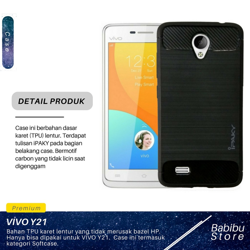 Back Case for VIVO Y21 Black Gratis Universal . Source · iPaky Carbon .