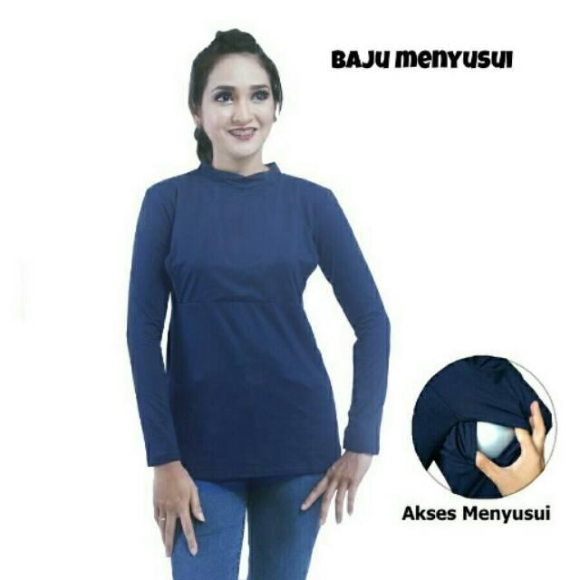 Manset menyusui /baju busui friendly justmom Aisha Navy