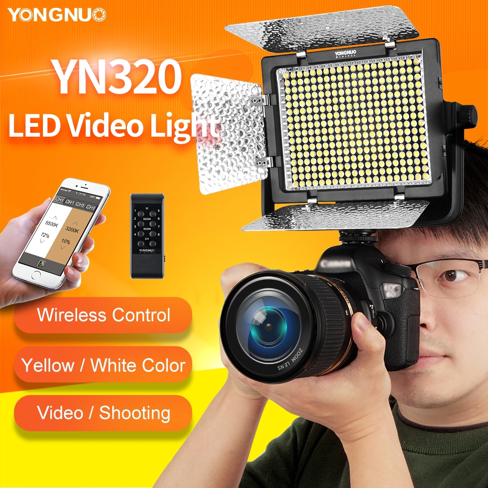 Yongnuo Yn320 Panel Lampu Video Led Dengan Stand Holder Untuk Kamera Dslr Canon Nikon Shopee Indonesia