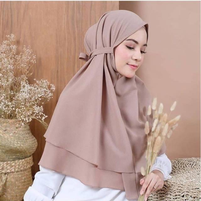 Hijab Bergo Maryam 2 Layer Diamond Bergo Instan Tali Non Pet Dua Layar Shopee Indonesia