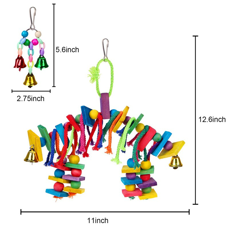 Bird Swing Perch Ring Design Colorful Cotton Rope Ring Toy Cage Toys Hanging Decor for Parrot Budgie Parakeet Cockatiel S 1PC